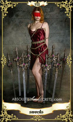 beautiful woman surrounded by 8 swords