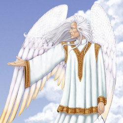 image of archangel michael with blonde hair as seen by Rose Smith