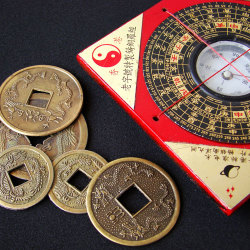 image of i ching coins and feng shui chart