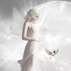 image of beautiful guardian angel on silver moon
