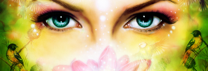 image of beautiful eyes with orchid and birds