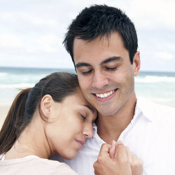 image of loving couple on the beach