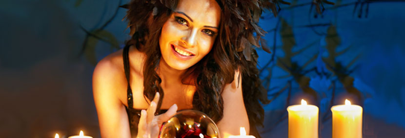 image of beautiful psychic with crystal ball