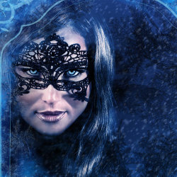 image of beautiful woman wearing mask in the dark