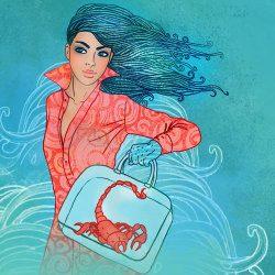 image of scorpio woman with scorpion handbag fantasy