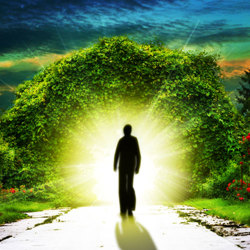 image of a man approaching the light on the other side