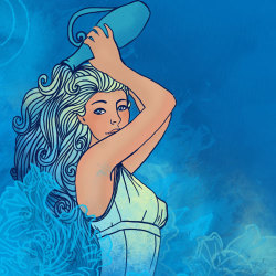 image of aquarian woman pouring water