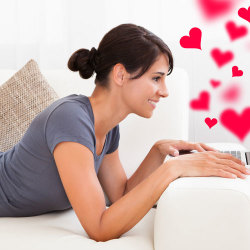 image of woman on computer dating online