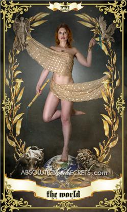 image of beautiful woman embracing the world tarot