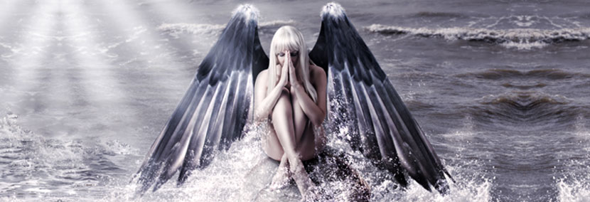image of beautiful angel in the ocean
