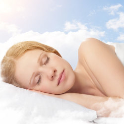 image of beautiful woman dreaming in the clouds