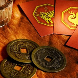 image of i ching coins and cards