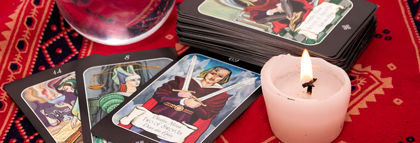 image of tarot cards and candles