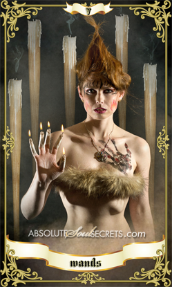 image of woman holding the 5 of wands representing the tarot