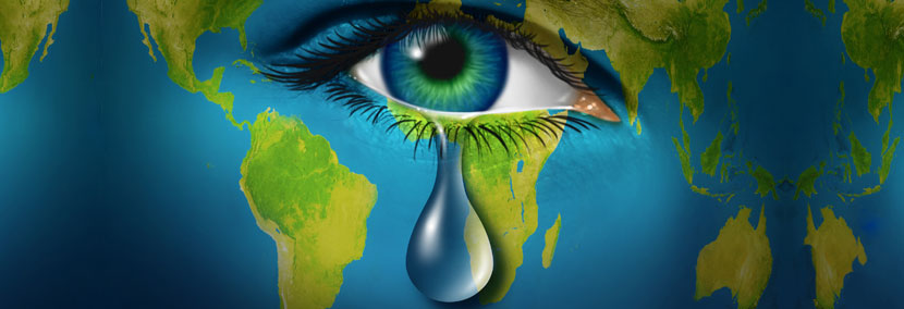 image of eye crying with the earth background