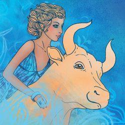 image of taurus woman holding bull
