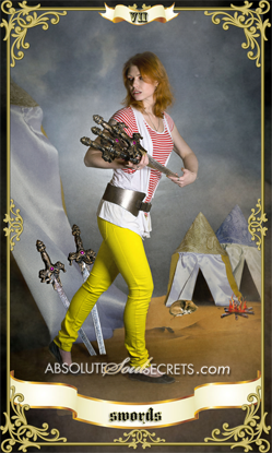 image of woman with 7 of swords on tarot card