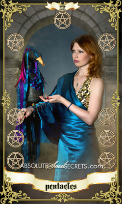 image of beautiful woman with the 9 of pentacles