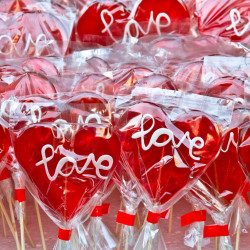 image of lollipops with the word love written on them