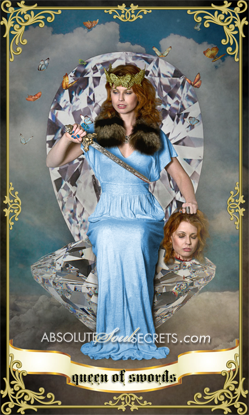 image of woman in blue silk dress with a silver sword