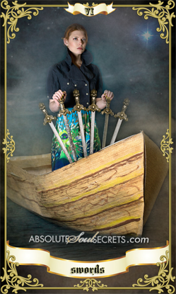 image of woman on a wooden boat with the 6 of swords