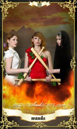 image of 3 beautiful women representing the 3 of wands tarot card