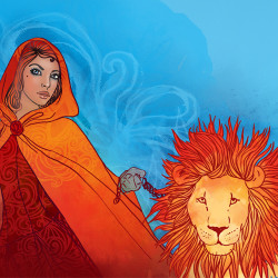 image of fantasy woman with a lion to represent Leo