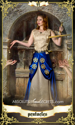 image of elegant woman in gown with 6 of pentacles