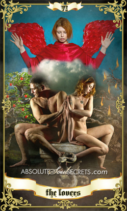 image of a naked man and woman representing the lovers tarot card