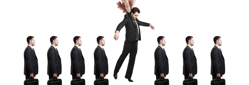 image of a business man being plucked in the air from his job