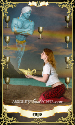 image of woman holding a genie lamp surrounded by gold cups
