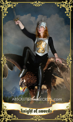 image of woman knight representing the knight of swords tarot card