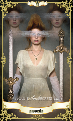 image of woman holding 2 swords representing the 2 of swords tarot card