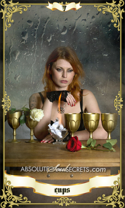 image of woman with 5 gold cups representing the 5 of cups tarot card