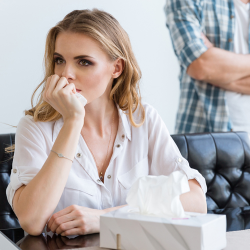 image of woman upset about the prospect of divorce with her husband