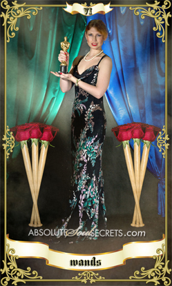 image of woman in gown with 6 baseball bats