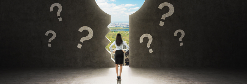 image of woman looking through a door of opportunity surrounded by question marks