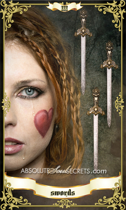 image of woman with 3 of swords hanging behind her