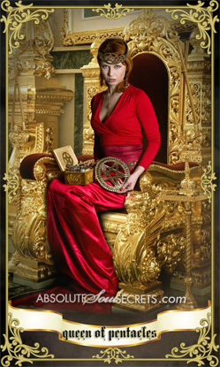 image of a woman in a red gown representing the queen of pentacles tarot