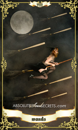 image of a woman flying on a broom with 8 wands flying around her