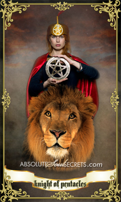 image of a female knight holding the pentacles sitting on a lion