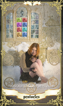 image of woman surrounded by the four of pentacles