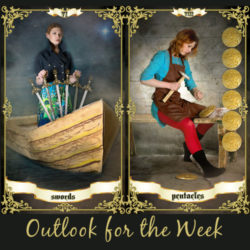 image of a woman in a boat with 6 swords representing the 6 of swords tarot card