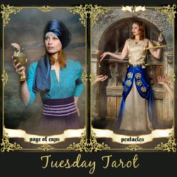 image of woman holding a goblet with a fish representing the Page of Cups tarot