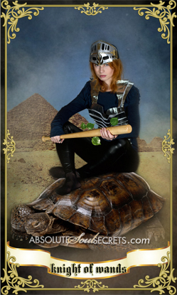 image of woman in a knight of armour representing the tarot card knight of wands