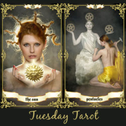 image of a woman with red hair holding a glowing sun on a tarot card