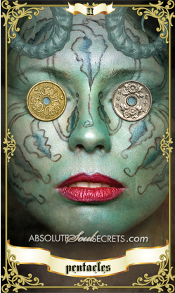 image of a woman with 2 coins on her eyes representing 2 of pentacles tarot card