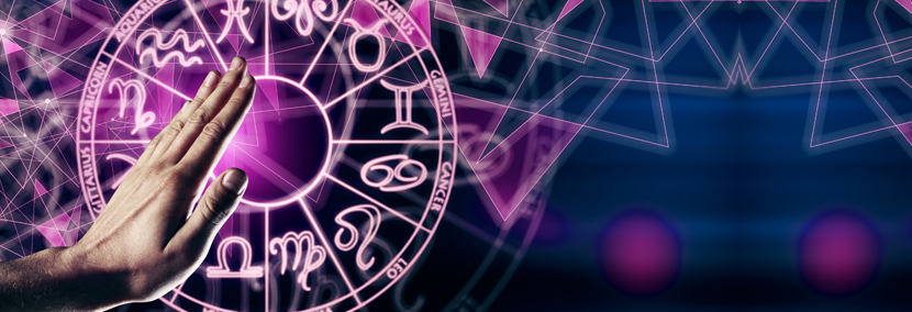 image of a purple astrology wheel on galactic background