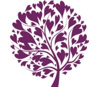 image of a purple love heart tree