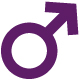 image of the universal male symbol in purple